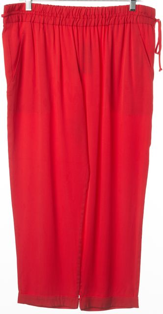 ELIZABETH AND JAMES Red Casual Capris, Cropped Relaxed Fit Tie Waist Pants