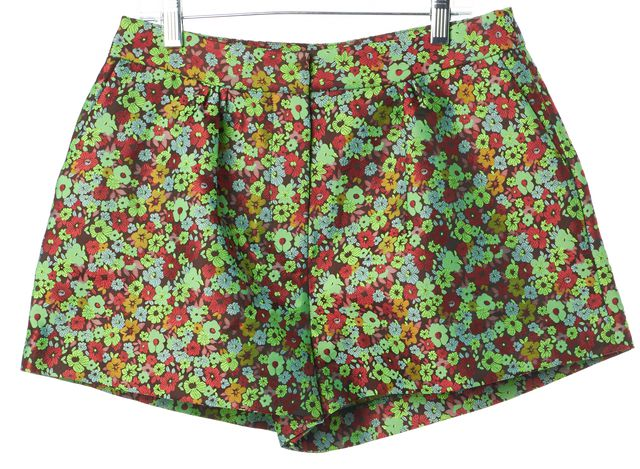 ELIZABETH AND JAMES Green Red Blue Floral Pop Jody Casual Shorts