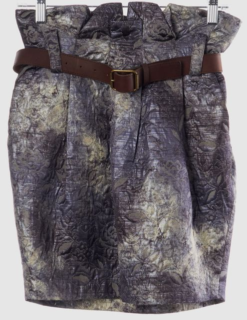 ELIZABETH AND JAMES Blue Gray Abstract Floral Print Straight Skirt