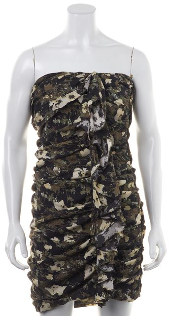 ELIZABETH AND JAMES Black Green Ivory Abstract Print Silk Sheath Dress