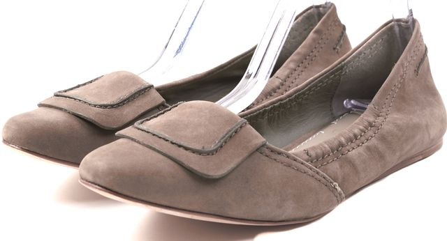 ELIZABETH AND JAMES Beige Nubuck Ballerina Flats