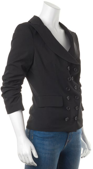 ELIZABETH AND JAMES Black Ruched 3/4 Sleeves Double Breasted Jacket