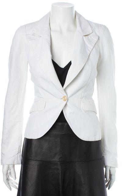 ELIZABETH AND JAMES White Cotton Linen One Button Blazer