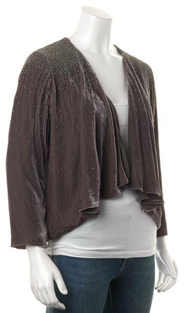 ELIZABETH AND JAMES Gray Beaded Velvet Cropped Open Basic Jacket