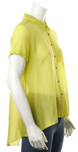 ELIZABETH AND JAMES Yellow Silk Short Sleeve Sheer Button Down Shirt