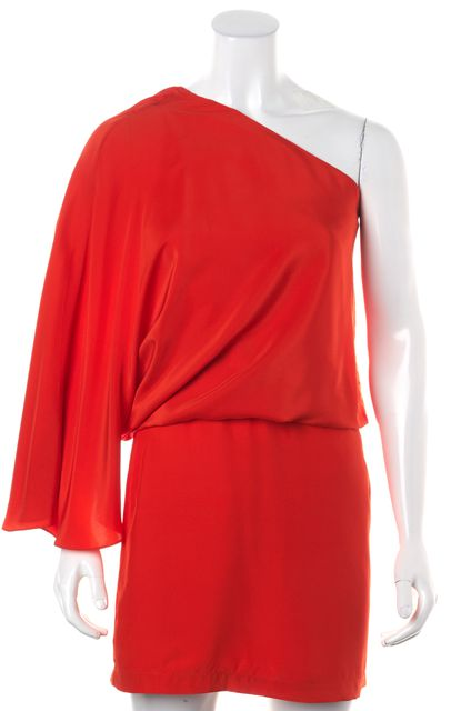 ELIZABETH AND JAMES Orange Tang Silk Helma One Shoulder Blouson Dress