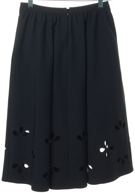 ELIZABETH AND JAMES Black Laser Cut Knee-Length A-Line Skirt