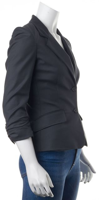 ELIZABETH AND JAMES Gray Stretch Cotton Double Button Blazer