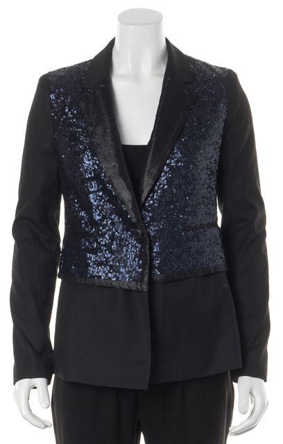 ELIZABETH AND JAMES Blue Black Sequin Single Button Blazer