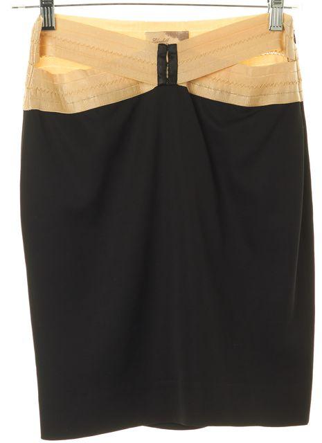 ELIZABETH AND JAMES Black Beige Hip Cutout Above Knee Pencil Skirt