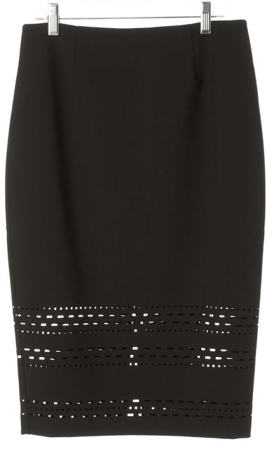 ELIZABETH AND JAMES Black Lazer Cut Carrigan Pencil Skirt