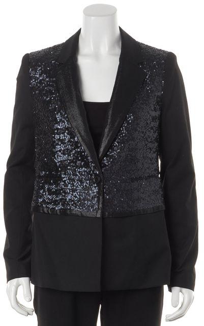 ELIZABETH AND JAMES Black Blue Sequined Metallic Lapel Blazer Jacket