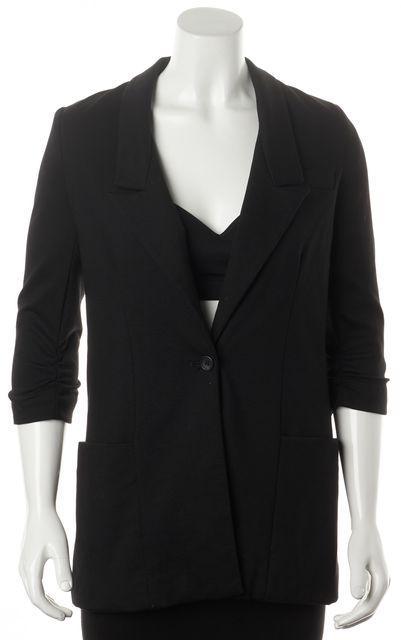ELIZABETH AND JAMES Black One Button Gathered Sleeve Blazer Jacket