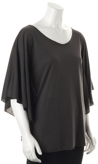 ELIZABETH AND JAMES Gray V-Neck Dolman Sleeve Oversized Blouse Top