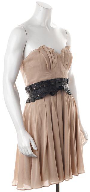 ELIZABETH AND JAMES Beige Silk Fit & Flare Dress