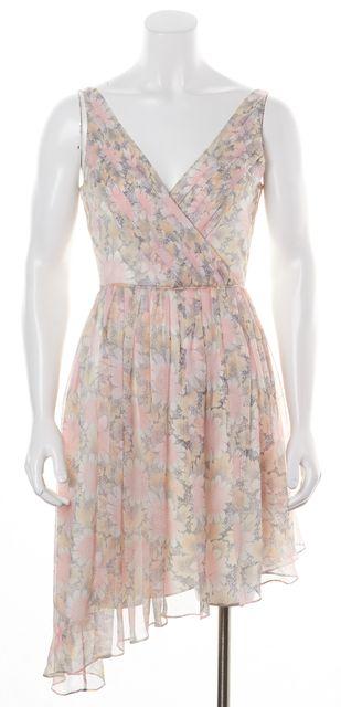 ELIZABETH AND JAMES Pink Floral Silk Fit & Flare Asymmetrical Hem Dress