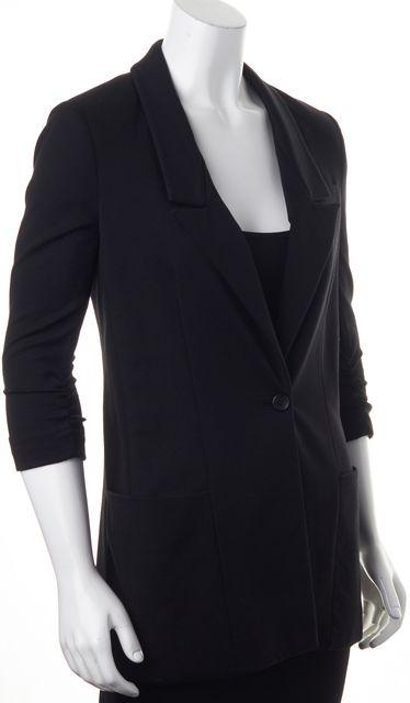 ELIZABETH AND JAMES Black Ponte Jersey 3/4 Ruched Sleeves Long Blazer