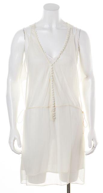 ELIZABETH AND JAMES White Silk Button Front Blouson Dress
