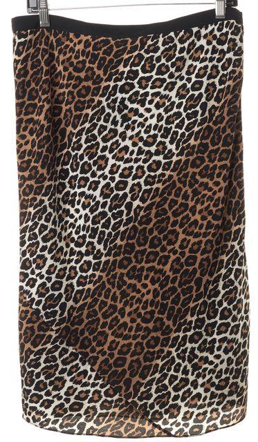 ELIZABETH AND JAMES Brown Black Leopard Print Silk Straight Skirt
