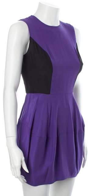 ELIZABETH AND JAMES Purple Black Silk Sleeveless Bubble Sheath Mini Dress