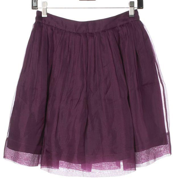 ELIZABETH AND JAMES Purple Silk Organza Full Pleated Skirt