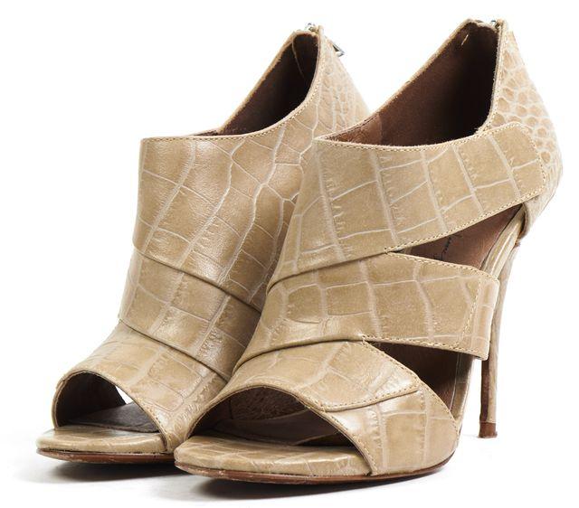 ELIZABETH AND JAMES Beige Embossed Leather Open Toe Pump Heels