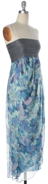 ELIZABETH AND JAMES Blue Gray Printed Silk Pleated Strapless Maxi Dress