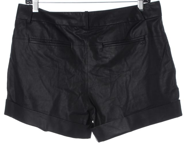 ELIZABETH AND JAMES Black Leather Motorcycle Casual Shorts