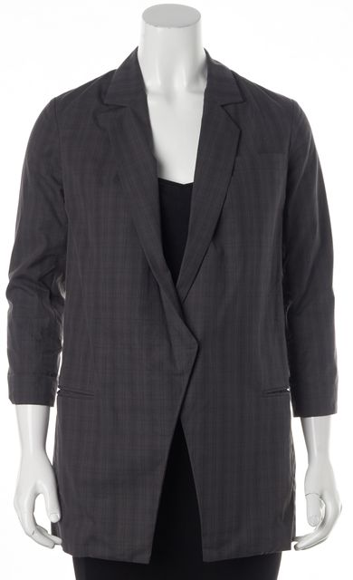 ELIZABETH AND JAMES Gray Plaid Cotton Single Button Basic Jacket