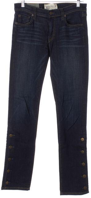 ELIZABETH AND JAMES Blue Denim Ankle Button Trim Harrison Skinny Jeans