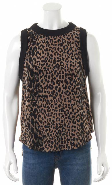 ELIZABETH AND JAMES Beige Black Leopard Animal Print Silk Blouse Top