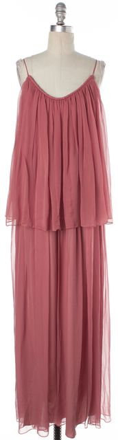 ELIZABETH AND JAMES Blush Pink Thin Strap Pleated Two Split Silk Maxi Dress