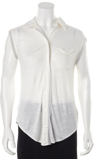 ELIZABETH AND JAMES Ivory Gray Cap Sleeve Button Down Shirt Top