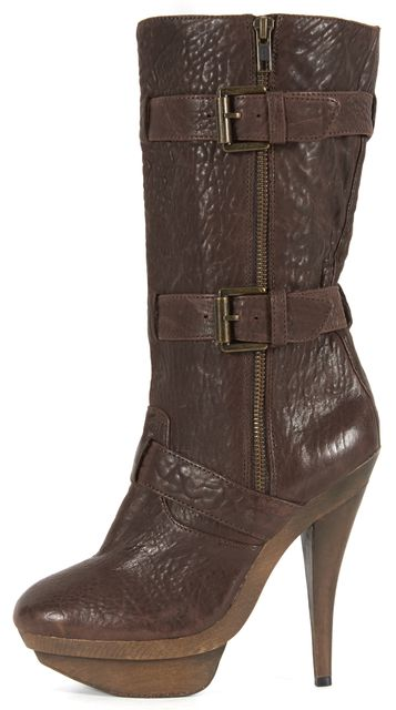 ELIZABETH AND JAMES Brown Leather Mid-Calf Boots