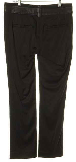 ELIZABETH AND JAMES Black Wool Leather Trim Dress Pants