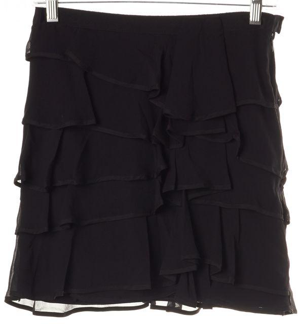 ELIZABETH AND JAMES Black Silk Chiffon Tiered Mini Skirt