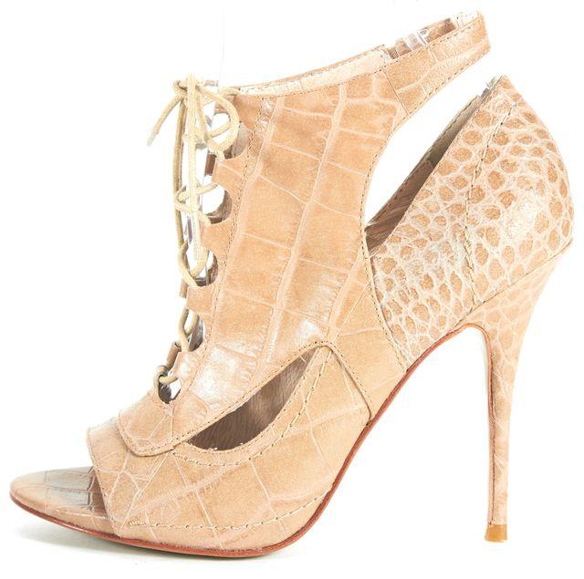 ELIZABETH AND JAMES Beige Crocodile Embossed Leather Lace-Up Sandal Heels
