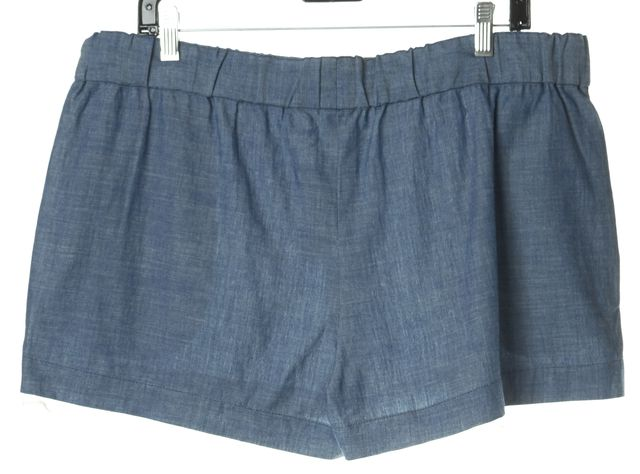 ELIZABETH AND JAMES Blue Denim Silk Trim Chambray Drape Shorts