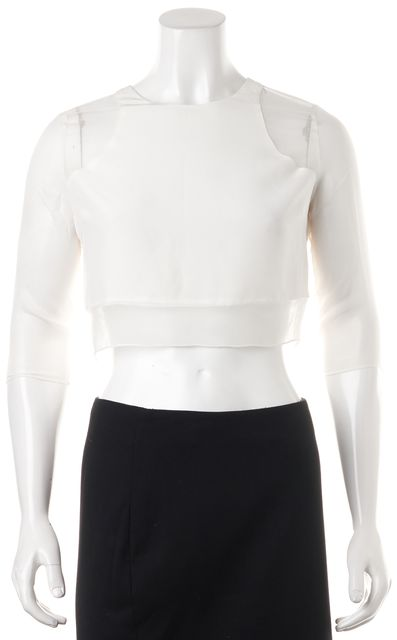 ELIZABETH AND JAMES Off White Ivory Silk Enno Cropped Blouse Top