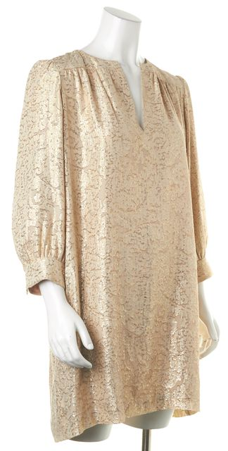 ELIZABETH AND JAMES Beige Metallic Gold Abstract Silk Shift Dress