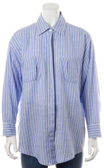 ELIZABETH AND JAMES Blue White Striped Linen Cotton Button Down Shirt Top