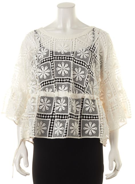 ELIZABETH AND JAMES White Crochet Knit Bell Sleeve Blouse Top