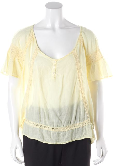 ELIZABETH AND JAMES Yellow Lace Detail Top