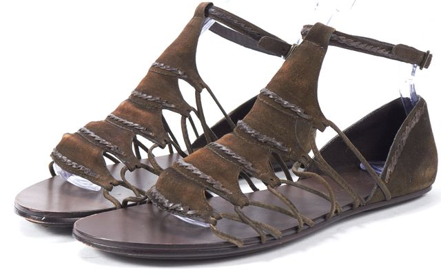 ELIZABETH AND JAMES Tobacco Green Suede Flat E-Stint Gladiator Sandals
