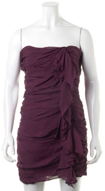 ELIZABETH AND JAMES Purple Silk Ruched Strapless Sheath Dress