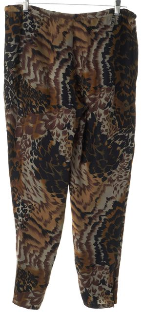 ELIZABETH AND JAMES Brown Silk Animal Print Rooster Drawstring Casual Pants
