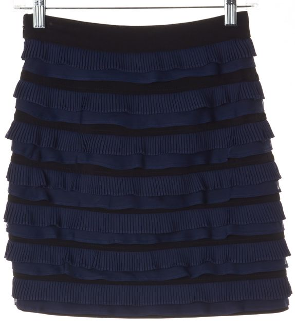 ELIZABETH AND JAMES Blue Black Striped Pleated Tiered Skirt