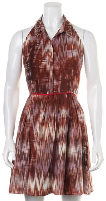 ELIZABETH AND JAMES Brown Abstract Silk Shirt Dress