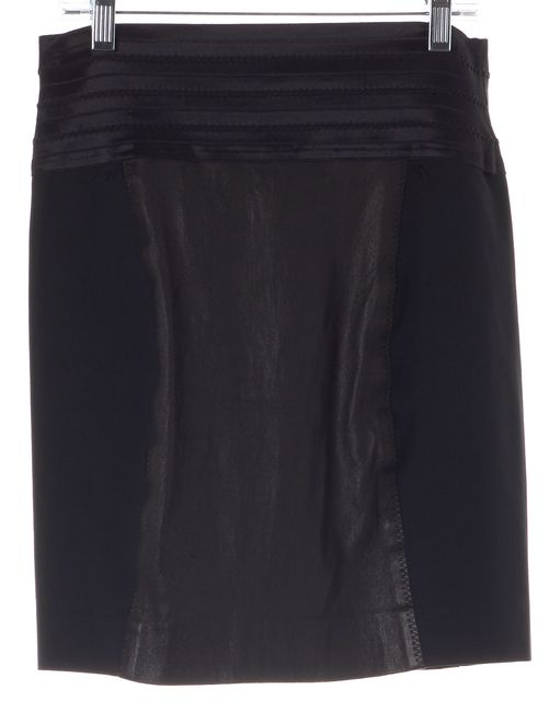 ELIZABETH AND JAMES Black Faux Leather Trim Side Cutout Straight Skirt