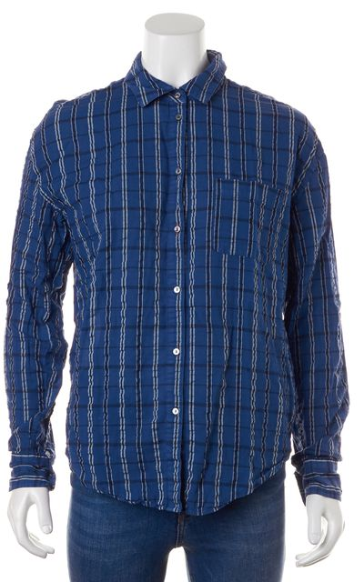 ELIZABETH AND JAMES Blue White Long Sleeve Plaid Button Down Shirt Top